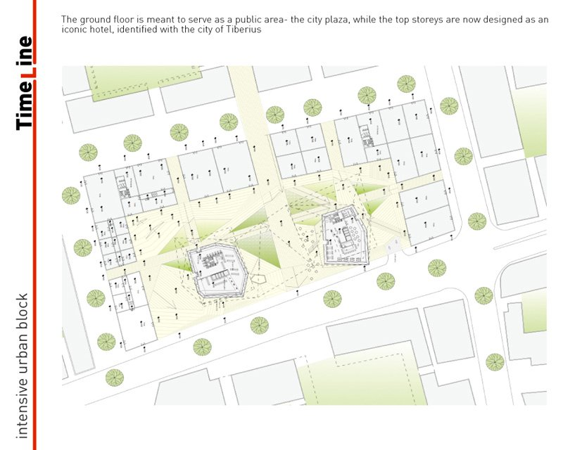 תוכנית אדריכלית של הבלוק המרכזי