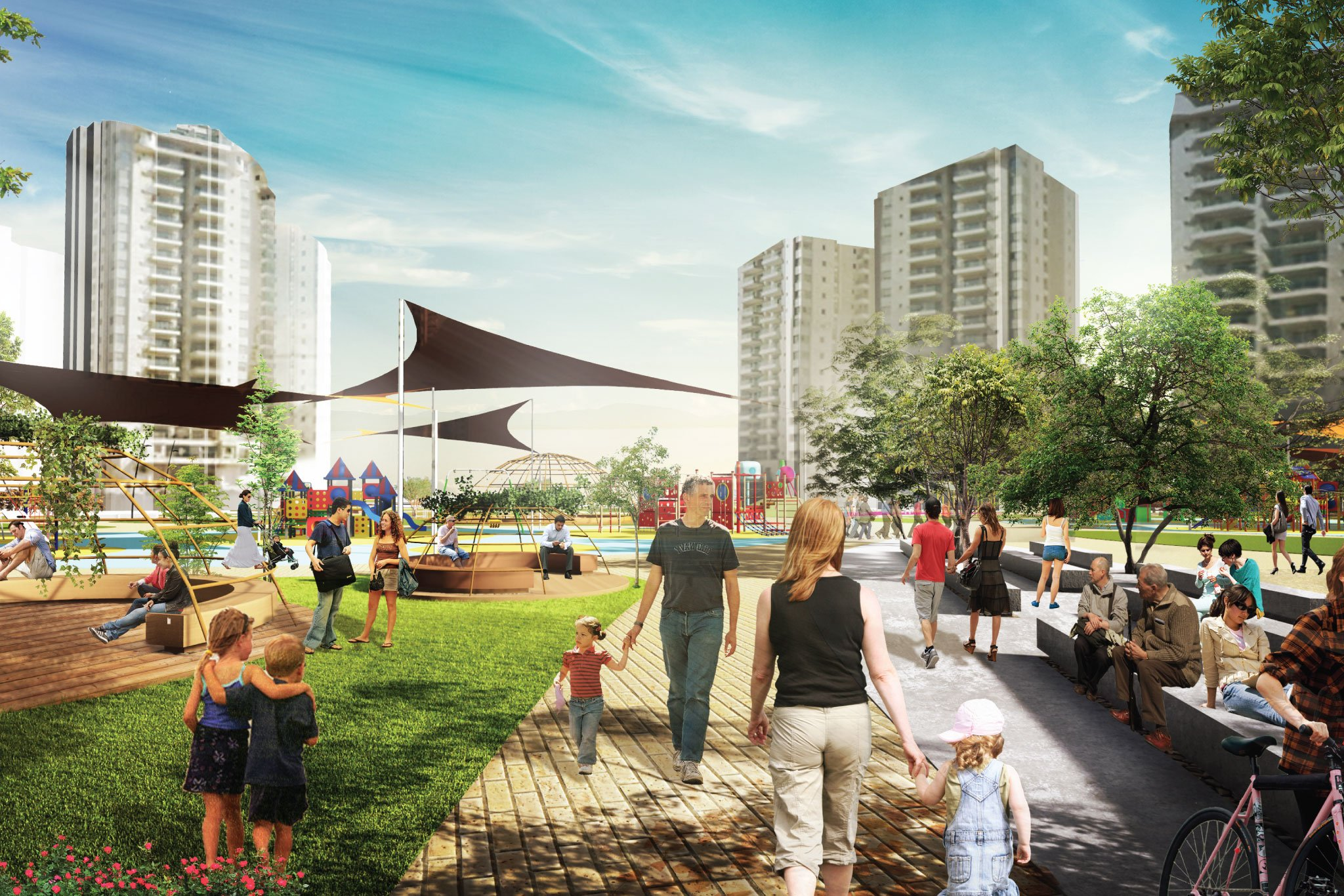 מבט כללי אל אזורי הפעילות פארק עירוני נווה גן