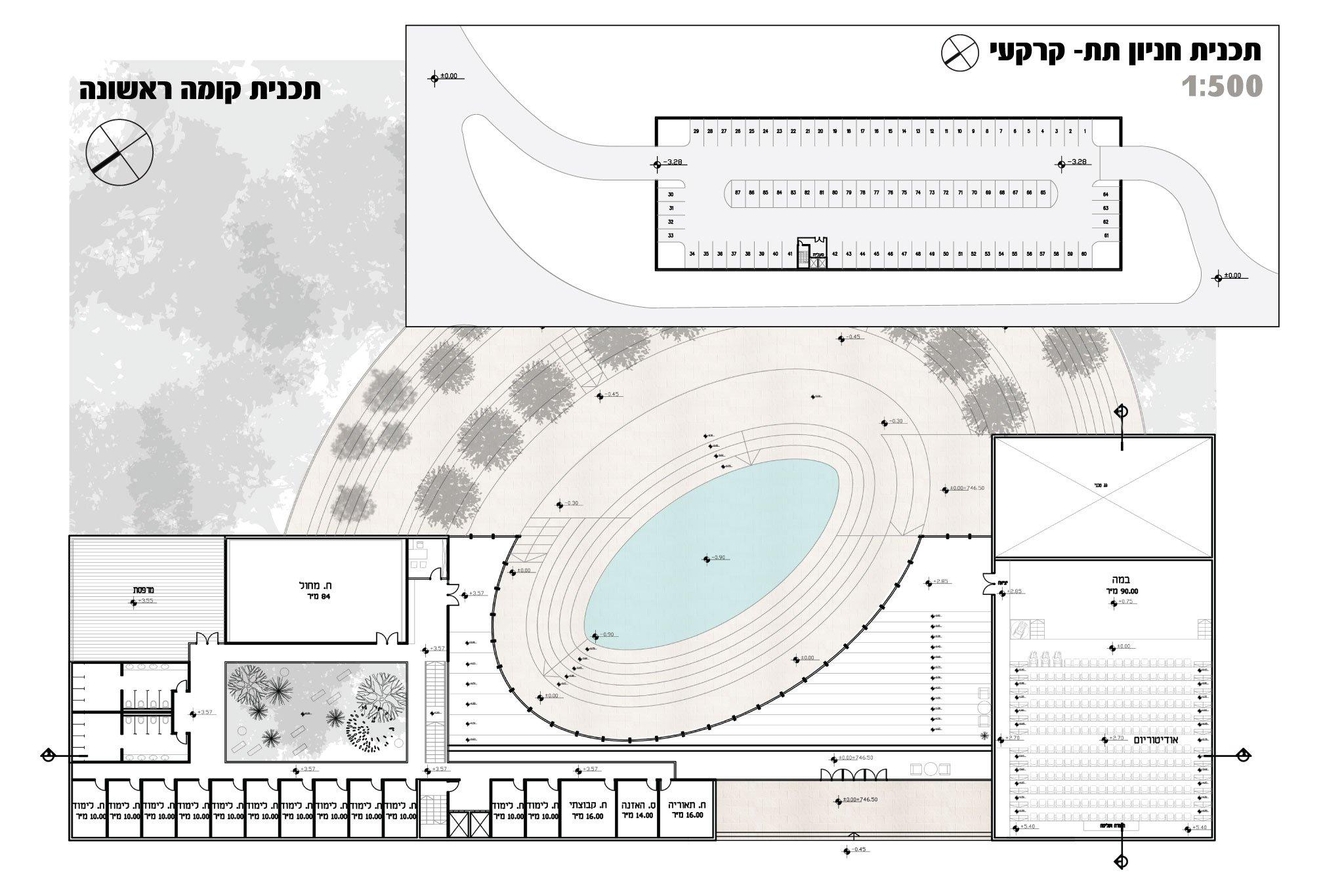 תכנית קומה ראשונה והחניון התת קרקעי- קונסבטוריון