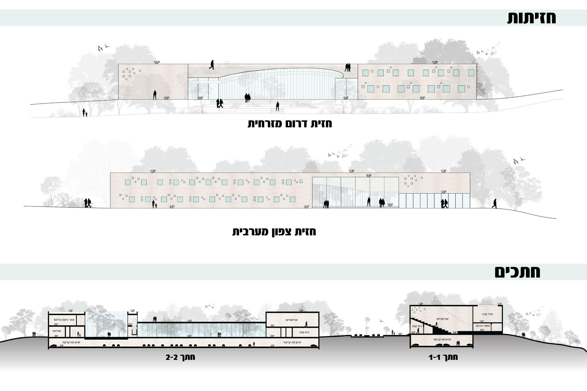 חזיתות וחתכי מבנה הקונסבטוריון